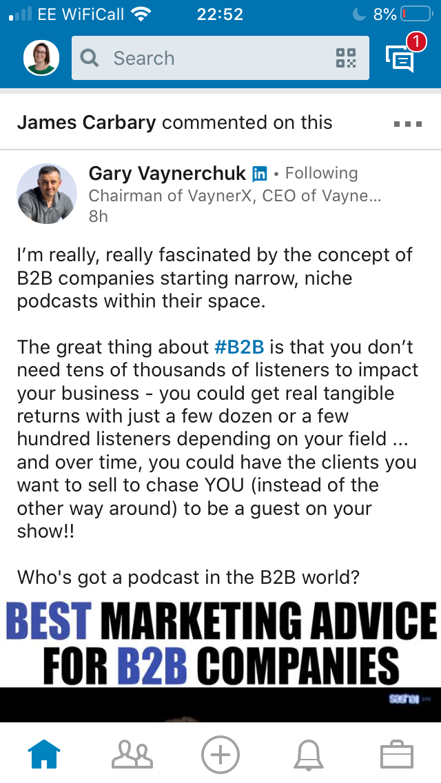 Gary Vaynerchuk social post on podcasts